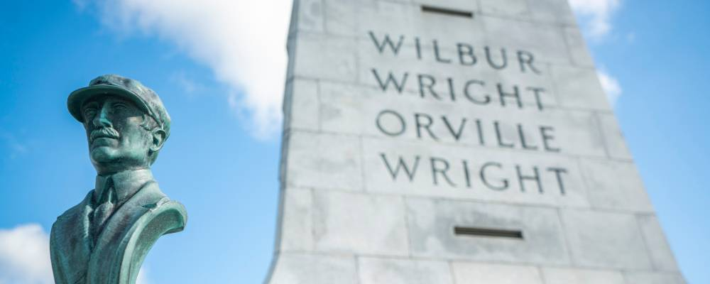 Wright Brothers Memorial with Close Up on Orville's Bust